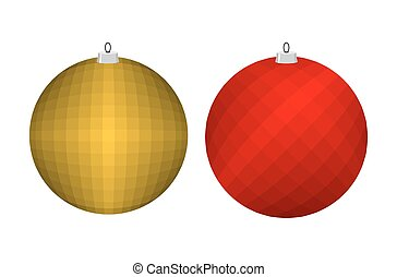 Christmas tree toy. Golden and red ball. Decoration for...