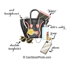 black fashion bag with various item - Watercolor Hand drawn...
