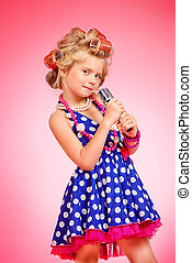 girl in polka-dot dress - Beautiful little girl in her...