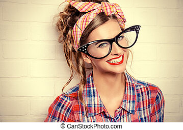 humorous glasses - Close-up portrait of a funny glamorous...