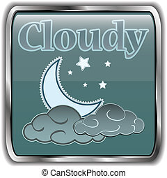 Night weather icon with text Cloudy