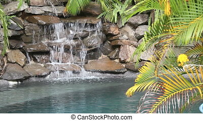 Water Falling On Rocks - Water falling on rocks and slate in...