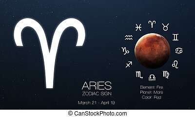 Zodiac sign - Aries. Cool astrologic infographics. Elements...