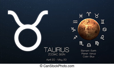 Zodiac sign - Taurus Cool astrologic infographics Elements...
