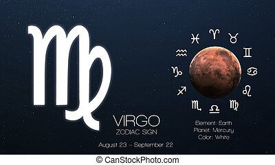 zodíaco, señal, -, Virgo., fresco, astrologic,...