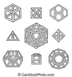 hand drawn polyhedrons collection - vector black outline...