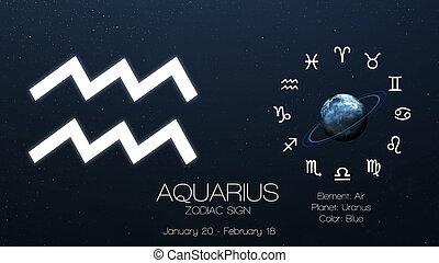 zodiaque, signe, -, Aquarius., frais, astrologic,...