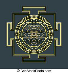 monocrome outline Sri yantra illustration - vector gold...