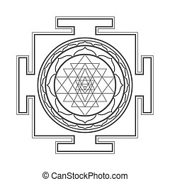 monocrome outline Sri yantra illustration - vector black...