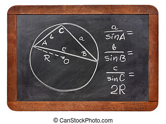 Law of sines on blackboard - Law of sines explained on a...