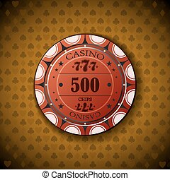 Poker chip 500 on orange background