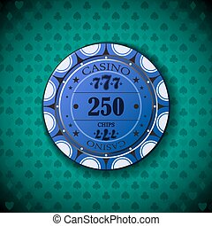 Poker chip 250 on blue background