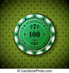 Poker chip 100 on green background
