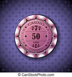 Poker chip nominal fifty, on card symbol background.
