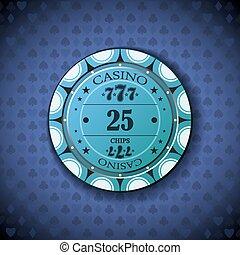 Poker chip nominal twenty five, on card symbol background.