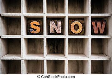 Snow Concept Wooden Letterpress Type in Drawer - The word...
