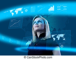 Attractive blonde young woman in futuristic interface -...