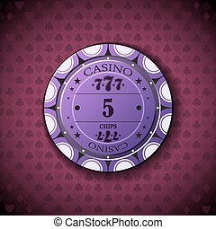Poker chip nominal five, on card symbol background.