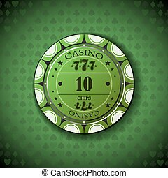 Poker chip nominal ten, on card symbol background.