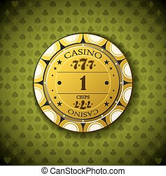 Poker chip nominal one, on card symbol background.