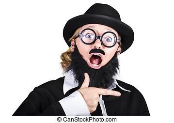 Woman Disguised As Man Gesturing - Surprised Woman Dressed...