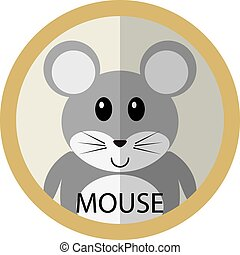 Cute grey mouse cartoon flat icon