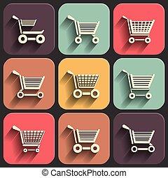 Shoping cart flat icon set