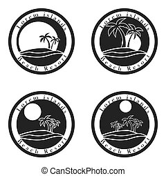 Beach resort Icons dark