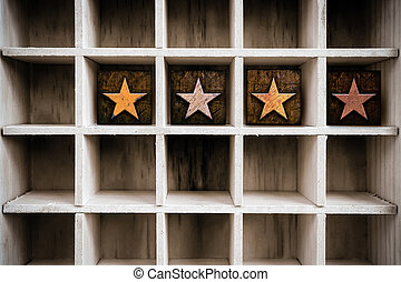 4 Stars Concept Wooden Letterpress Type in Drawer - The word...