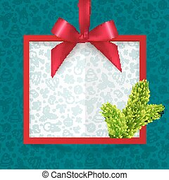 Red silky bow Christmas frame on blue doodle background -...