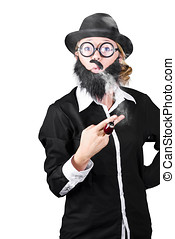 Funny Portrait Of Disguised Woman Smoking - Portrait Of...