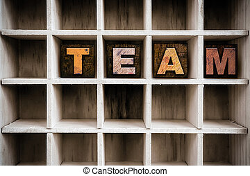 Team Concept Wooden Letterpress Type in Drawer