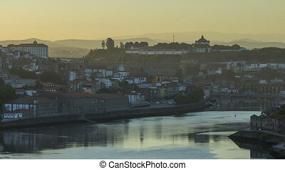 Arter Sunrise at the most emblematic area of Douro river timelapse. World famous Porto wine production area.