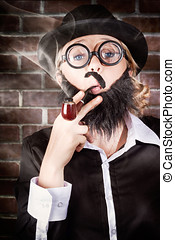 Funny private eye detective smoking pipe - Funny prviate eye...