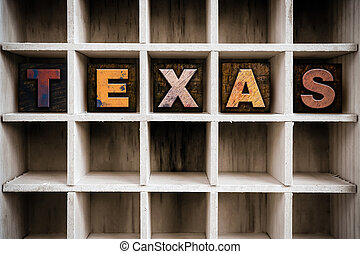Texas Concept Wooden Letterpress Type in Drawer - The word...