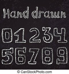 Written numbers 0-9 hand drawn