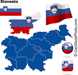Slovenia vector set. Detailed country shape with region...