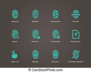 Fingerprint and thumbprint icons. Vector illustration.