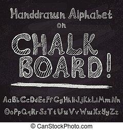 Hand drawn alphabet design on chalk
