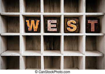 West Concept Wooden Letterpress Type in Drawer - The word...
