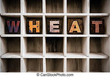 trigo, conceito, madeira, Letterpress, tipo, em, Gaveta,