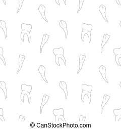 Vector seamless teeth pattern on white background