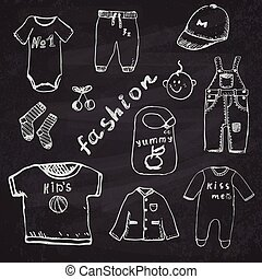 Clothes for baby boy set hand drawn