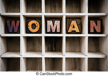 Woman Concept Wooden Letterpress Type in Drawer - The word...