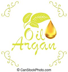 Oil drop, Argan oil cosmetic falling from leef with...