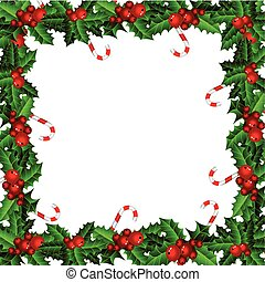 Holly Christmas frame