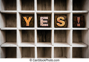Yes Concept Wooden Letterpress Type in Drawer