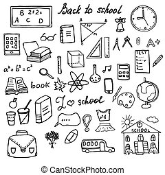 Back to School Supplies Sketchy Doodles set with Lettering,...
