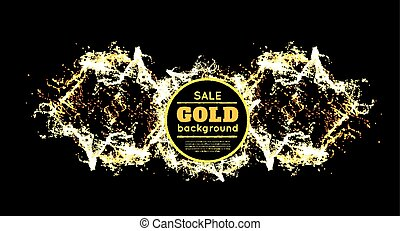 Gold sparkles on black background. Vector illustration