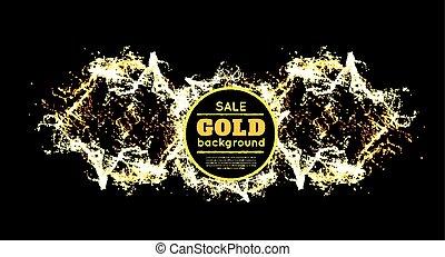 Gold sparkles on black background. Vector illustration